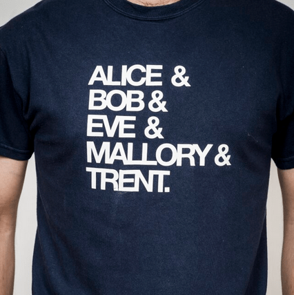 A T-shirt referencing some of the key figures in the dramatis personae of characters.