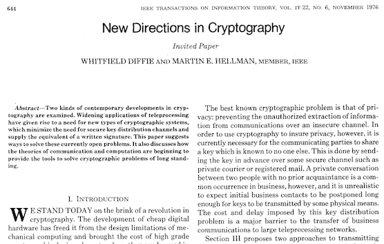 Front page of Diffie and Hellman's article