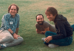 Picture of Rivest, Shamir, and Adleman in a field